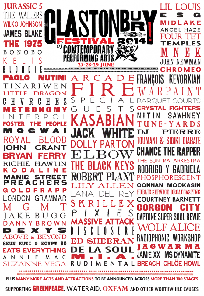 Glastonbury 2014 poster