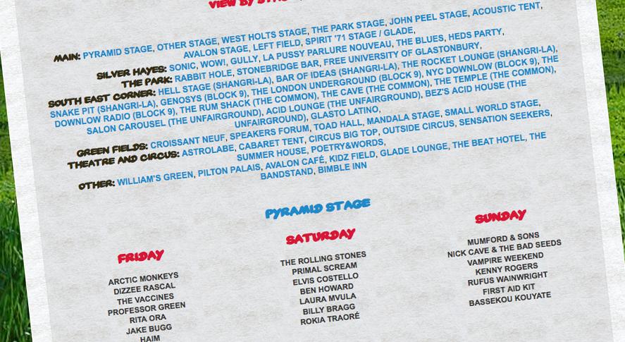 glastonbury 2013 schedule